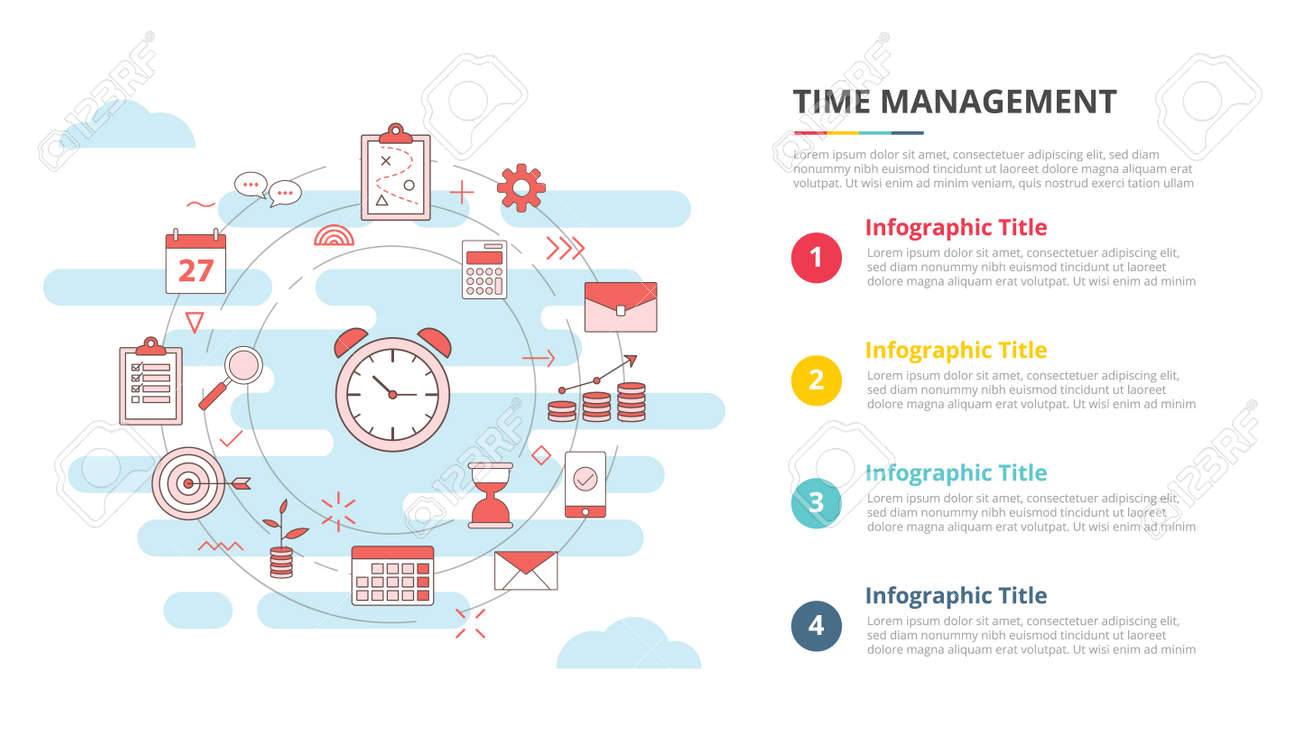 time management concept for infographic template banner with four point list information vector illustration - 165223765