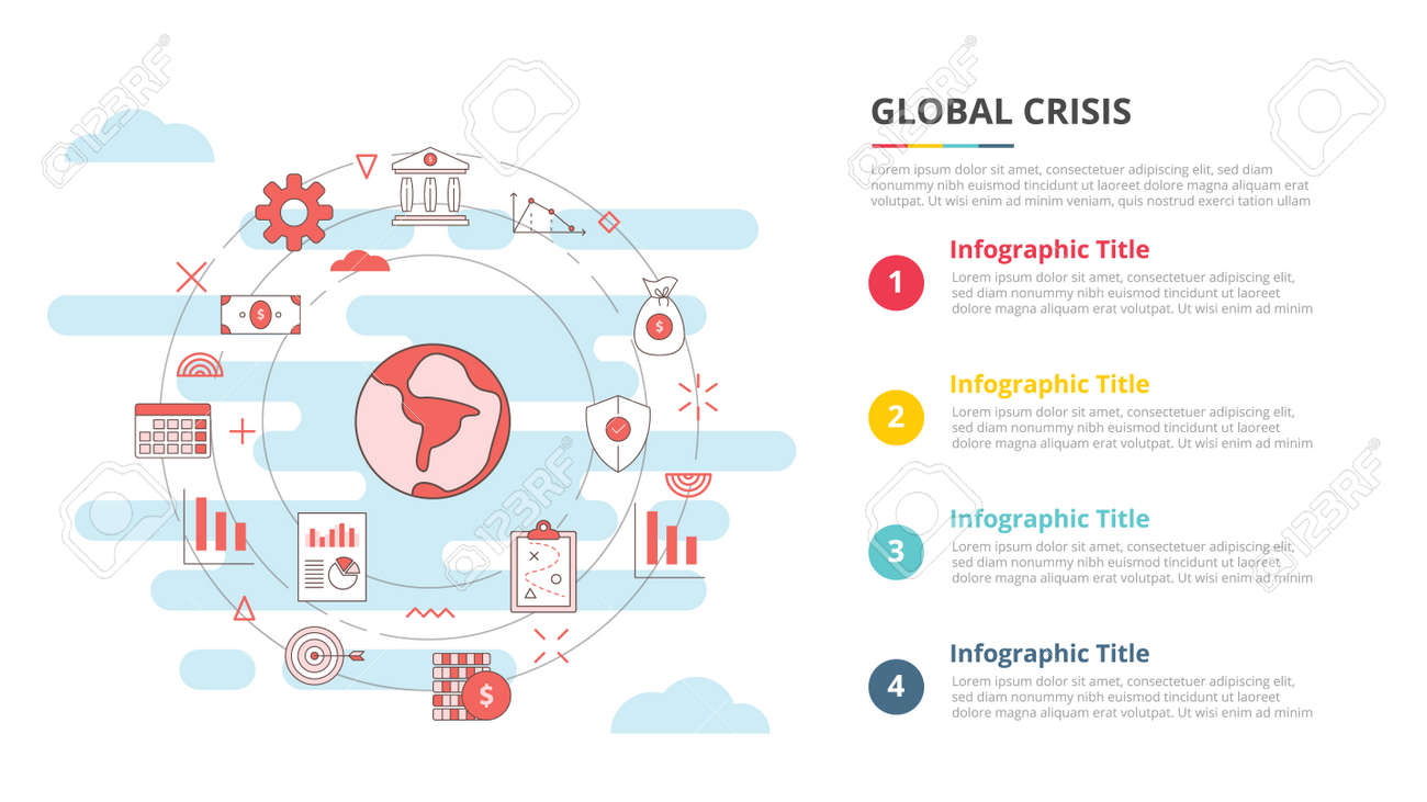 global crisis concept for infographic template banner with four point list information vector illustration - 165223767