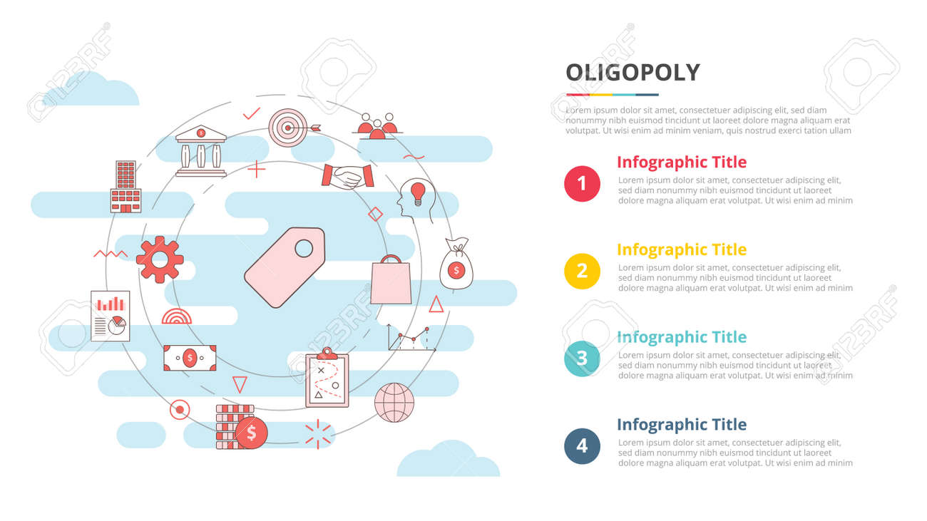 oligopoly concept for infographic template banner with four point list information vector illustration - 165183549