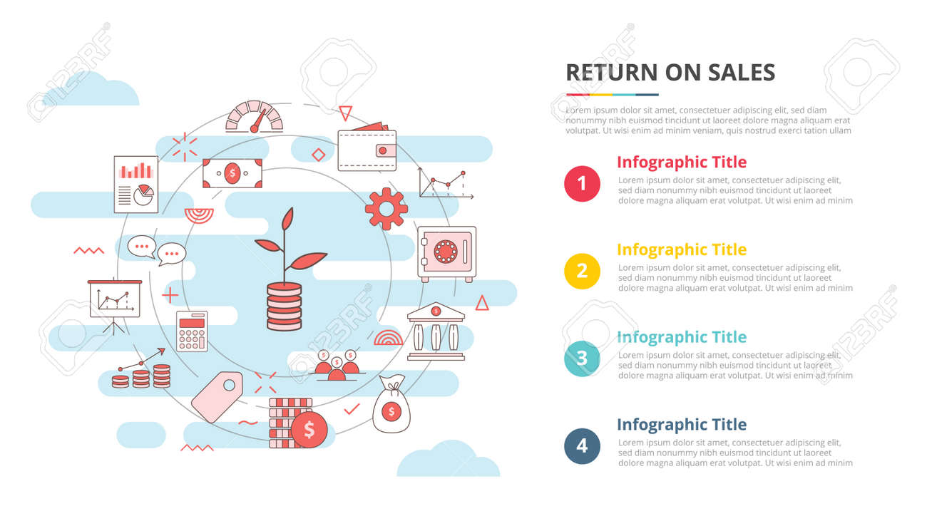 return on sales ros concept for infographic template banner with four point list information vector illustration - 165223923