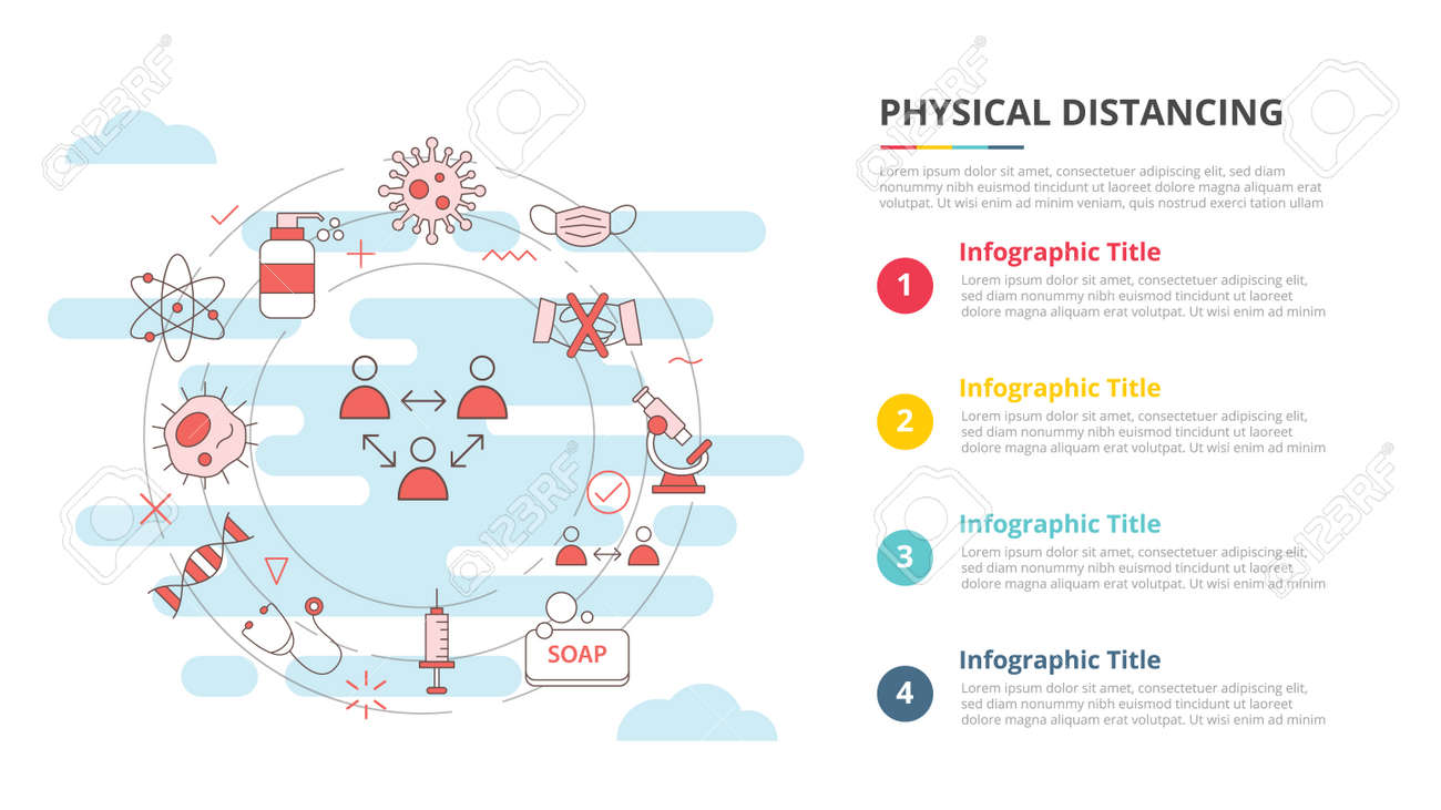 social distancing concept for infographic template banner with four point list information vector illustration - 165223921