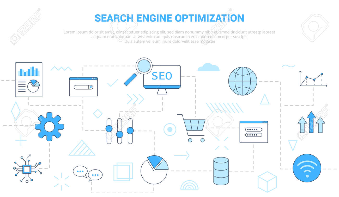 seo search engine optimization concept with icon set template banner with modern blue color style vector illustration - 165340491