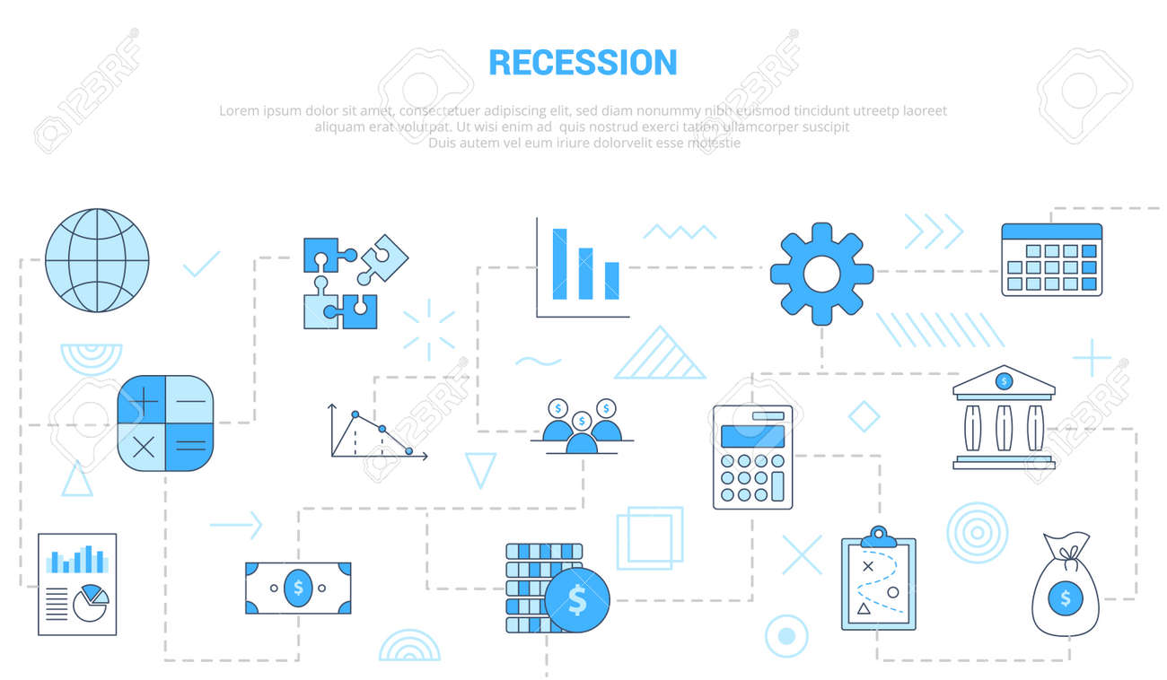 recession concept with icon set template banner with modern blue color style vector illustration - 165340849