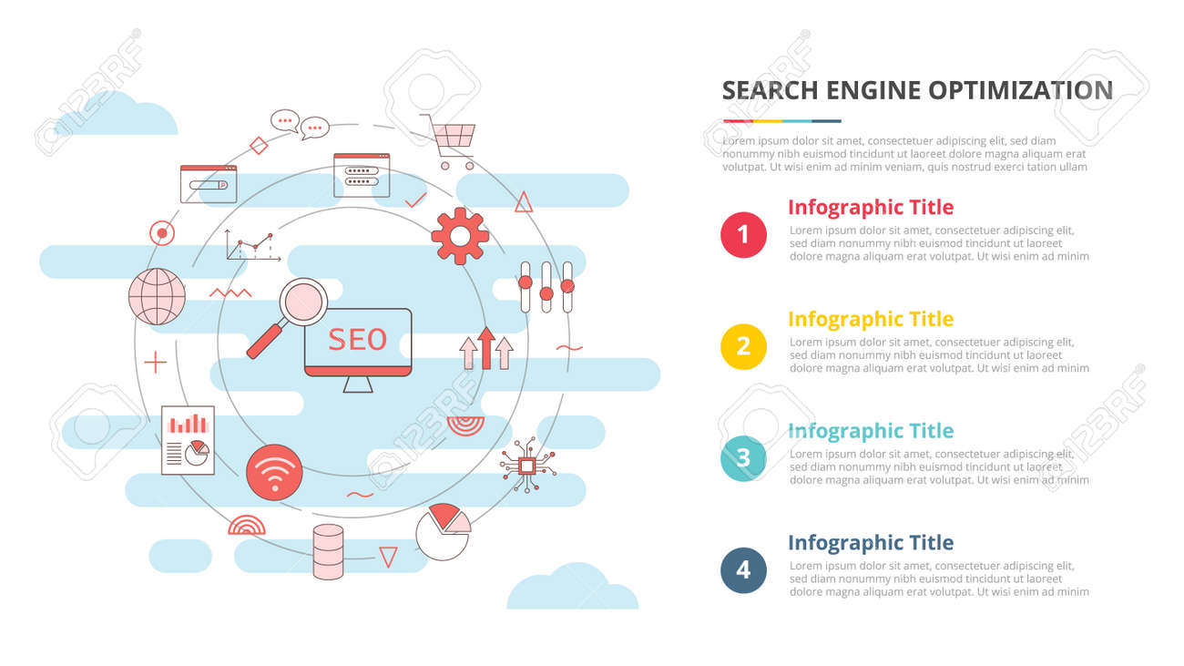 seo concept for infographic template banner with four point list information vector illustration - 165659014