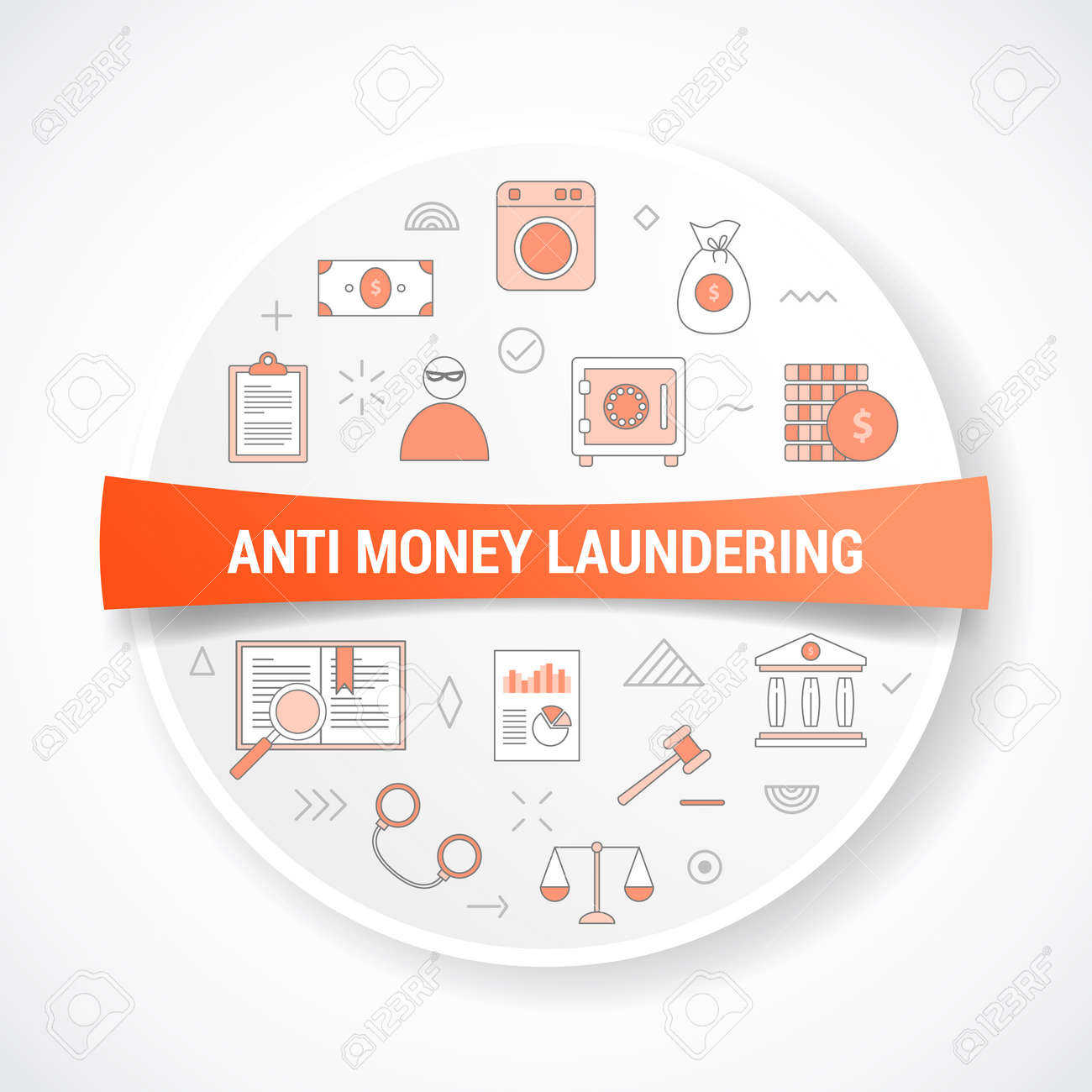 aml anti money laundering concept with icon concept with round or circle shape vector illustration - 165791195