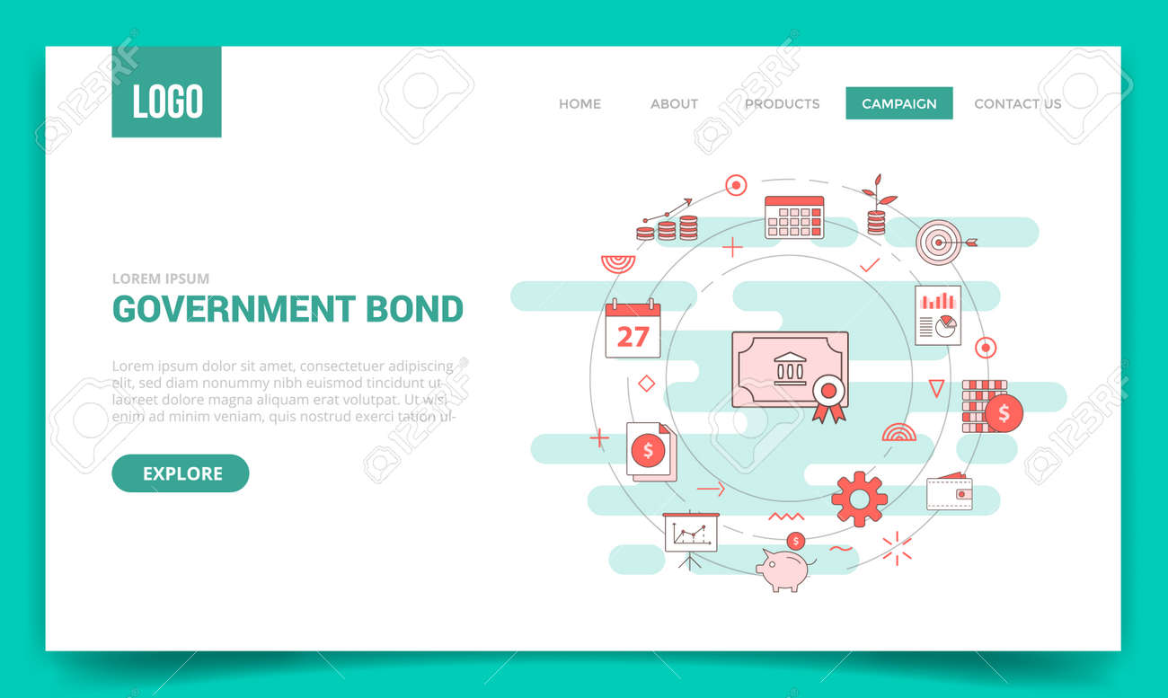 government bond concept with circle icon for website template or landing page banner homepage outline style vector illustration - 165791199