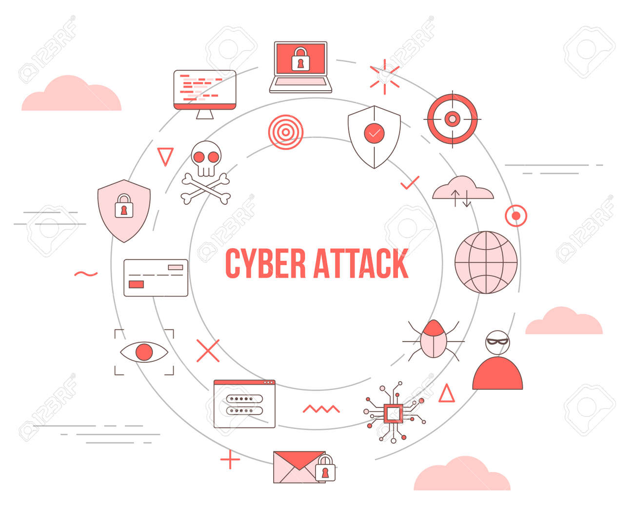 cyber attack concept with icon set template banner with modern orange color style and circle round shape vector illustration - 166409553