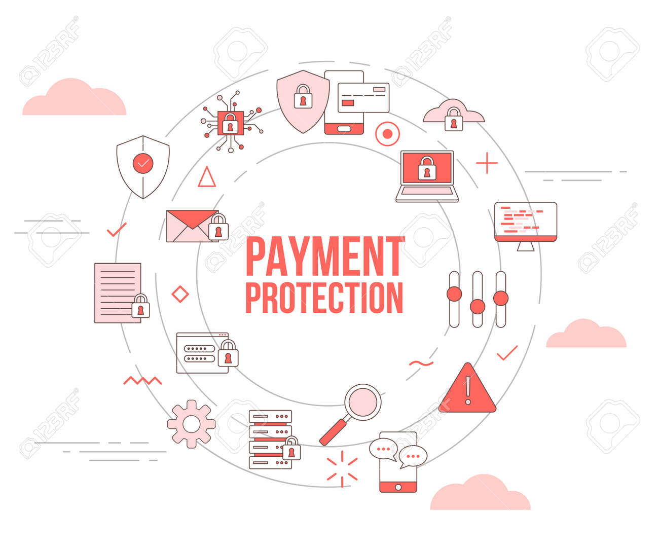 payment protection concept with icon set template banner with modern orange color style and circle round shape vector illustration - 166348529