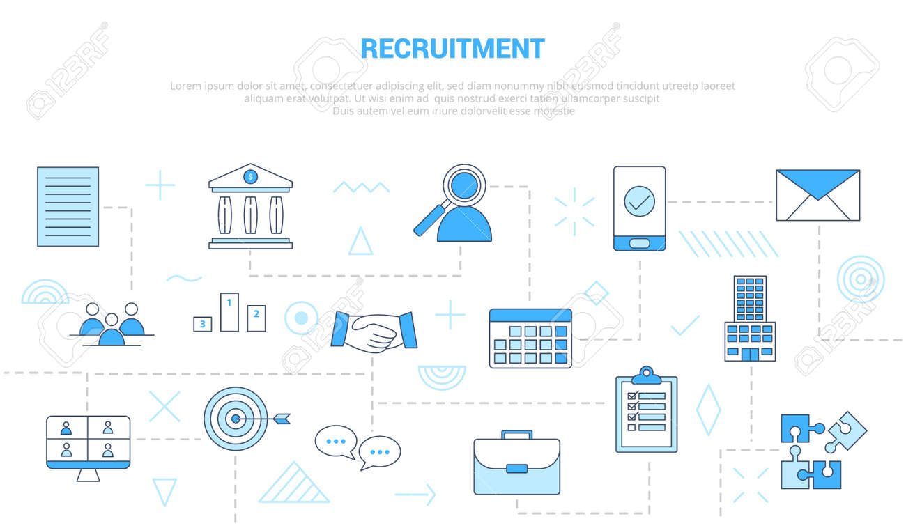 recruitment concept with icon set template banner with modern blue color style vector illustration - 166349694