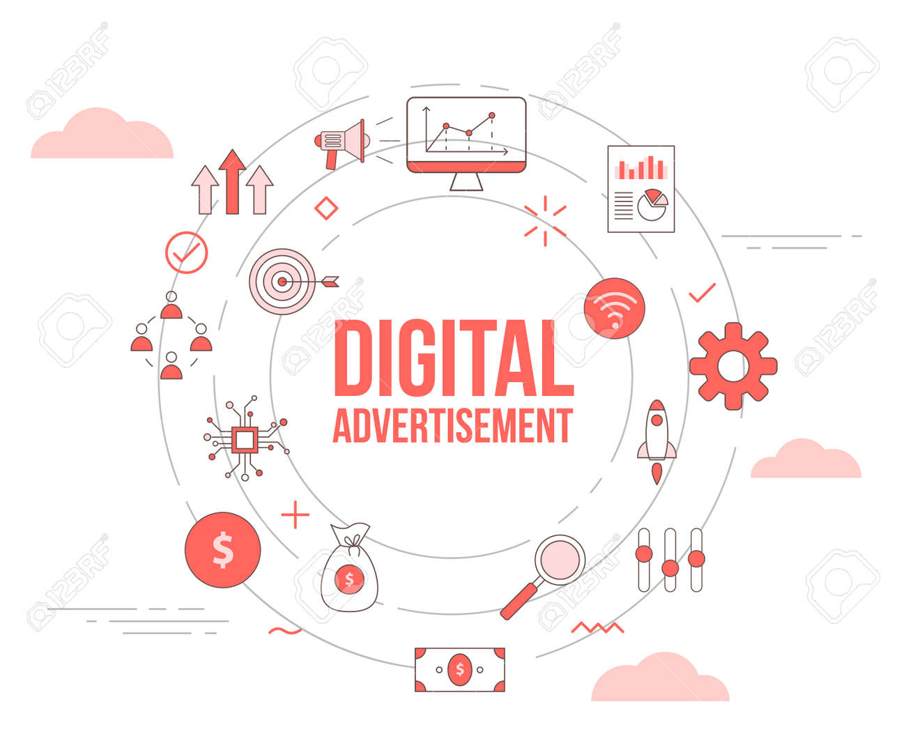 digital advertisement concept with icon set template banner with modern orange color style and circle round shape vector illustration - 166349782