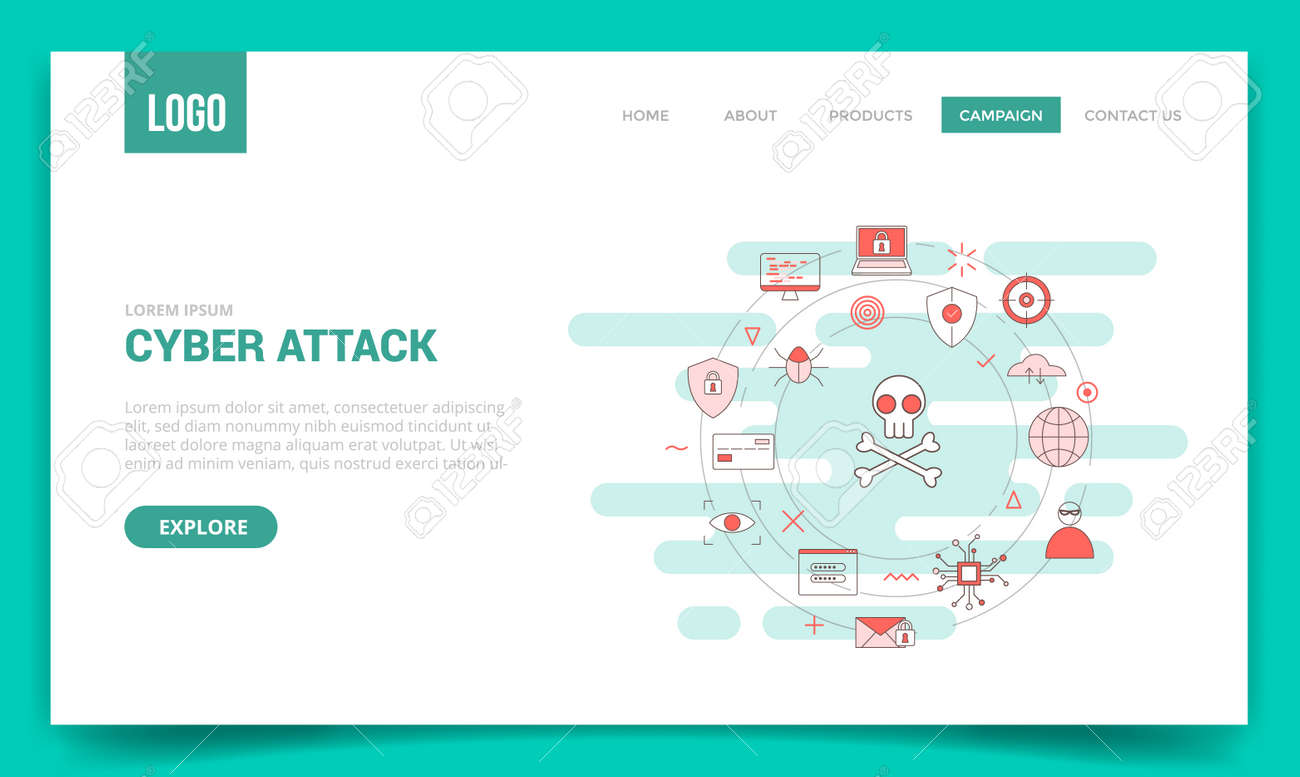 cyber attack concept with circle icon for website template or landing page banner homepage outline style vector illustration - 166429856