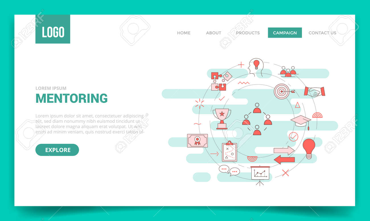 mentoring concept with circle icon for website template or landing page banner homepage outline style vector illustration - 166430036