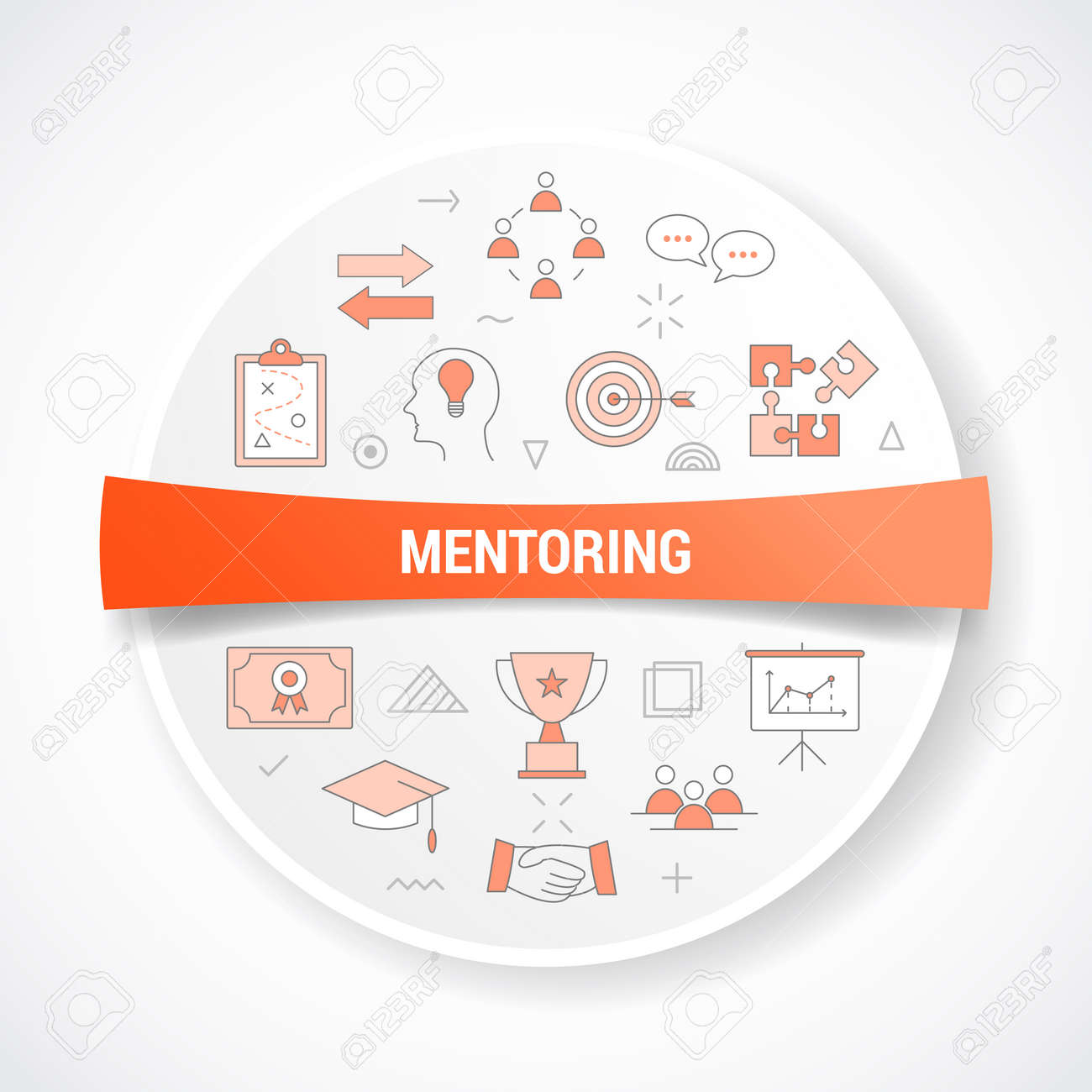 mentoring concept with icon concept with round or circle shape vector illustration - 166633601