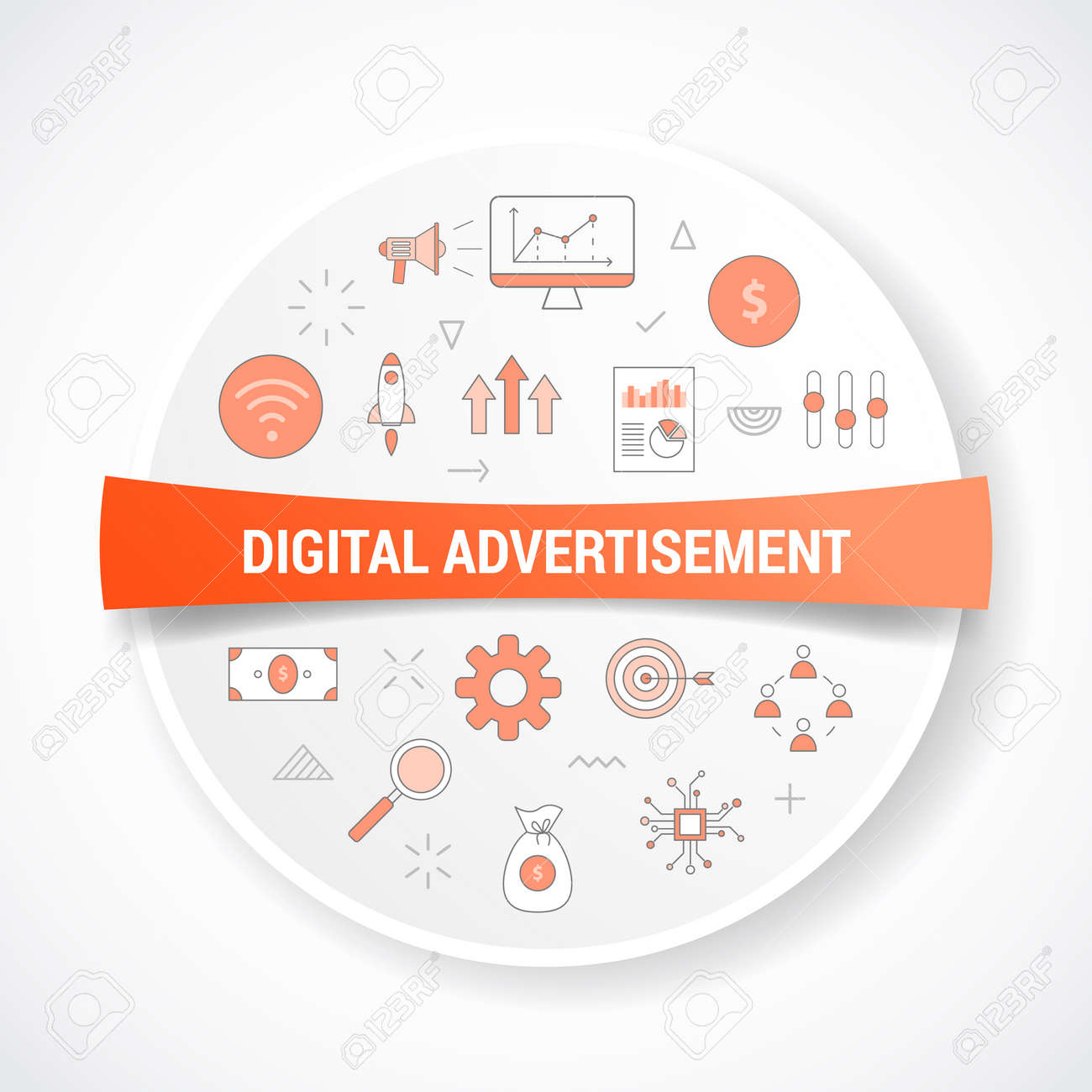 digital advertisement concept with icon concept with round or circle shape vector illustration - 166430016