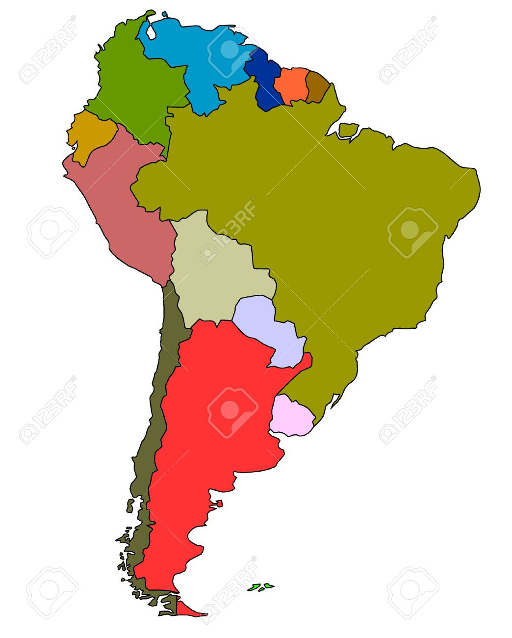 Color Map Of South America Stock Photo Picture And Royalty Free - Mapa de sur america