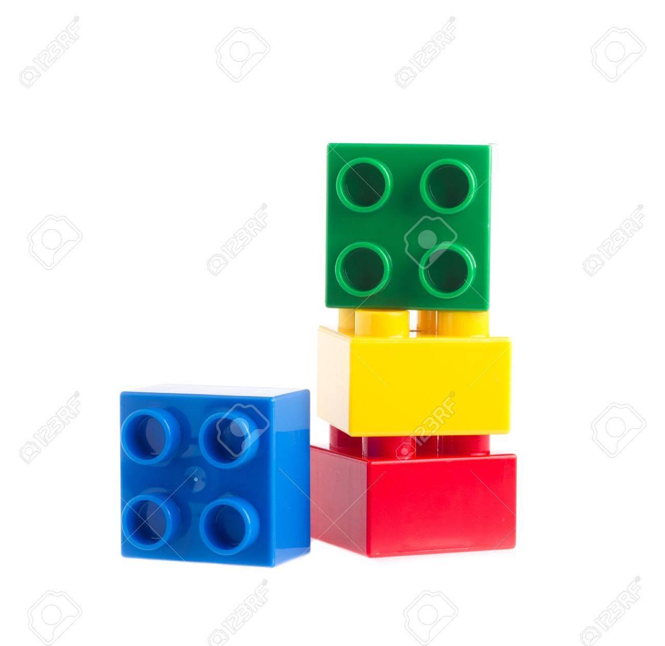 Plastic building blocks isolated on white background - 13504773