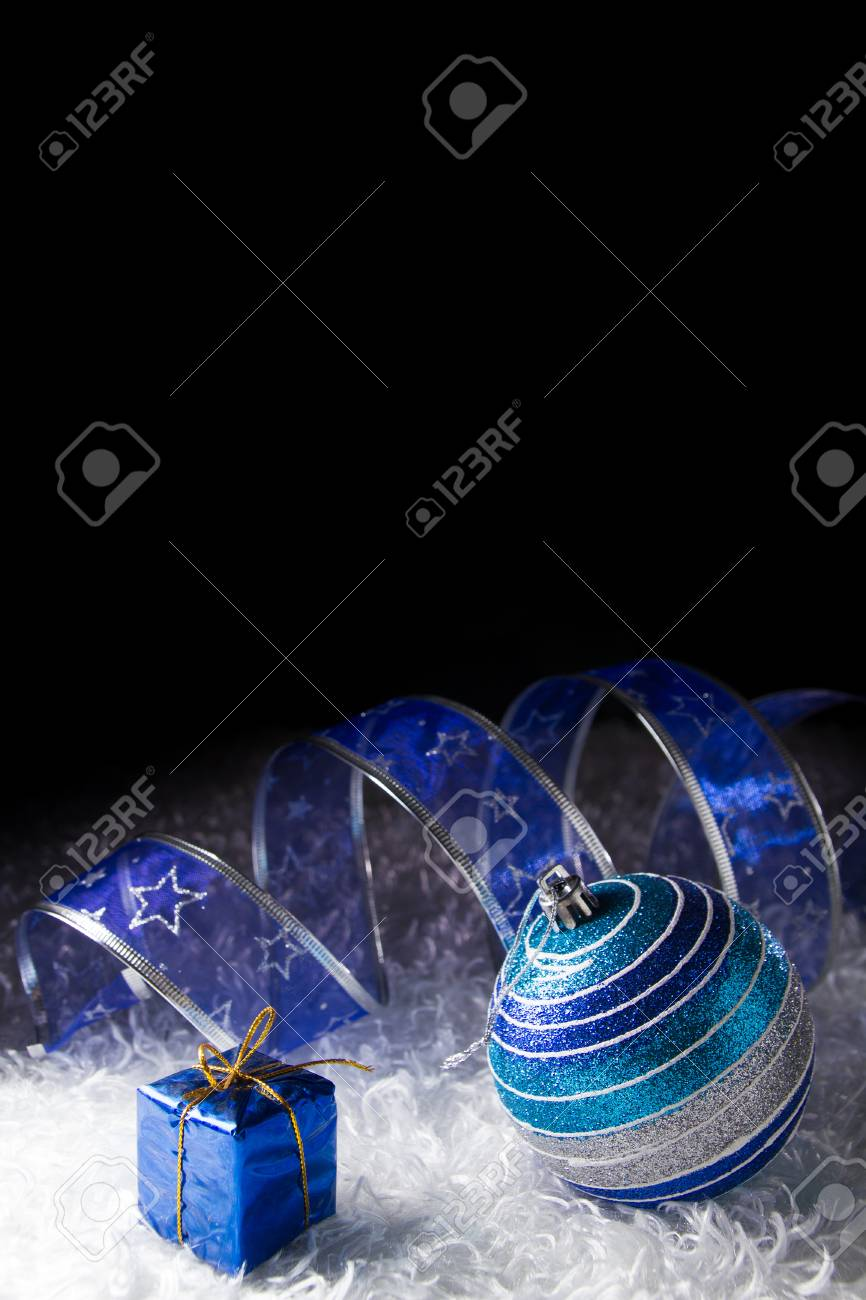 Blue Christmas with black background Stock Photo - 23572740