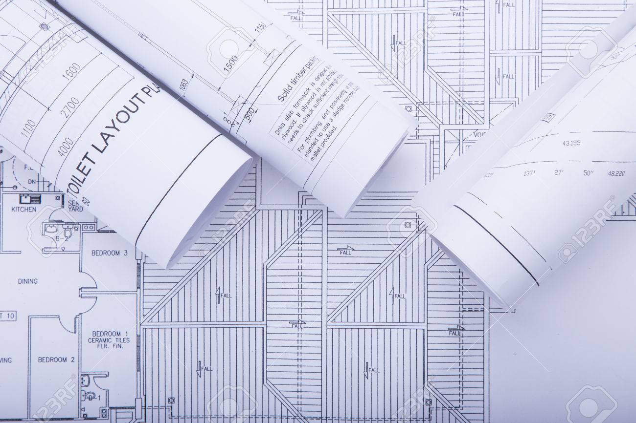 stock photo architect rolls and plansarchitectural planproject drawing