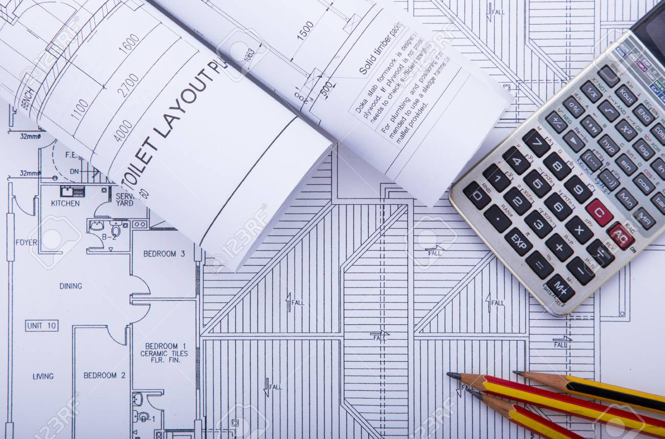 Concept Of Drawing. Blueprints And Drafting Tools. Stock Photo ...