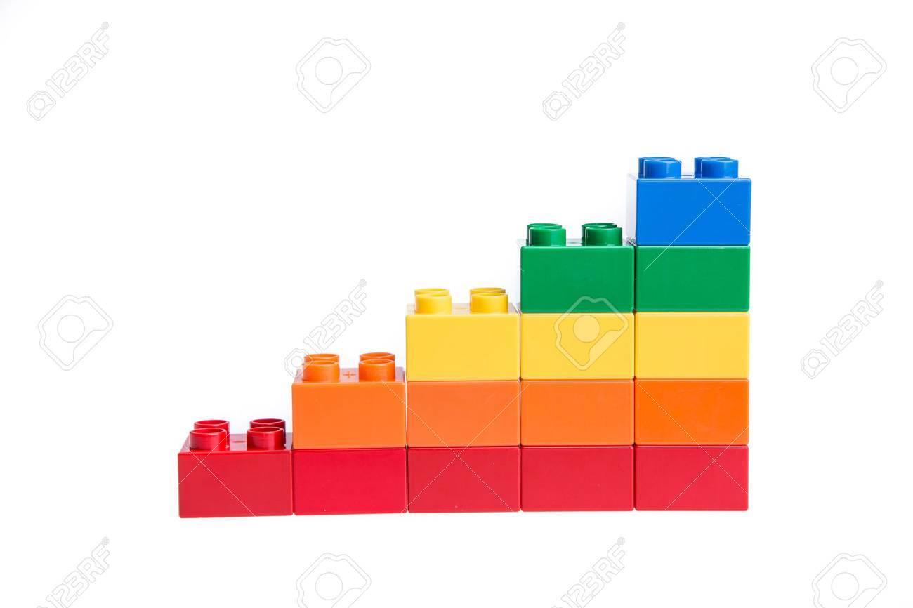 Plastic building blocks isolated on white background - 43091562