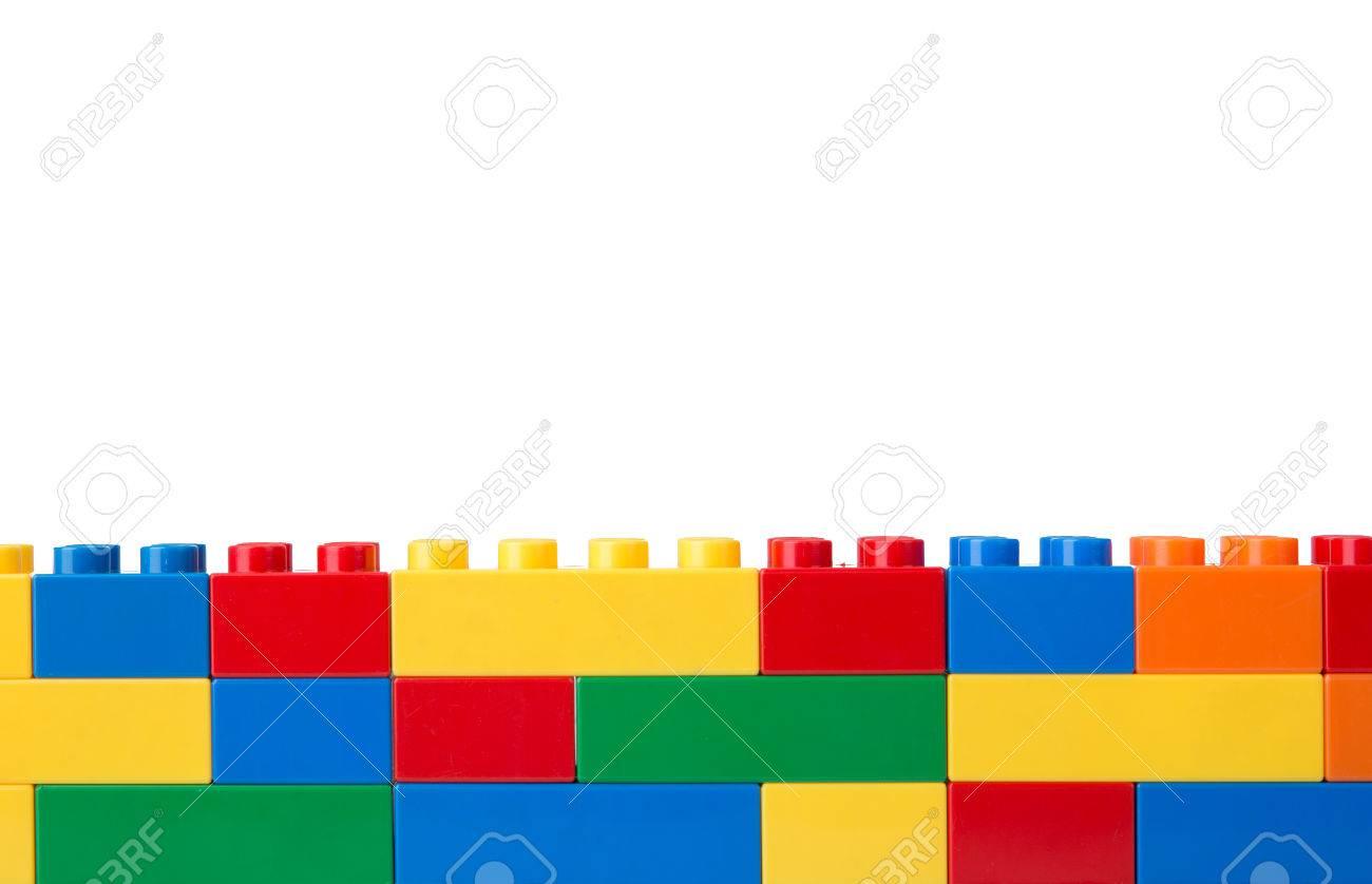 Plastic building blocks isolated on white background - 81673013