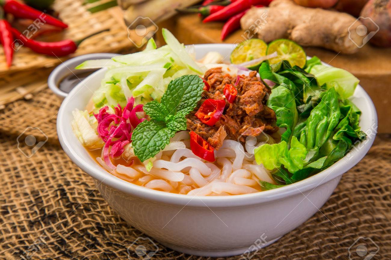 Assam Laksa (Noddle in Tangy Fish Gravy) is a Special Malaysian Food Popular in Penang - 85129316