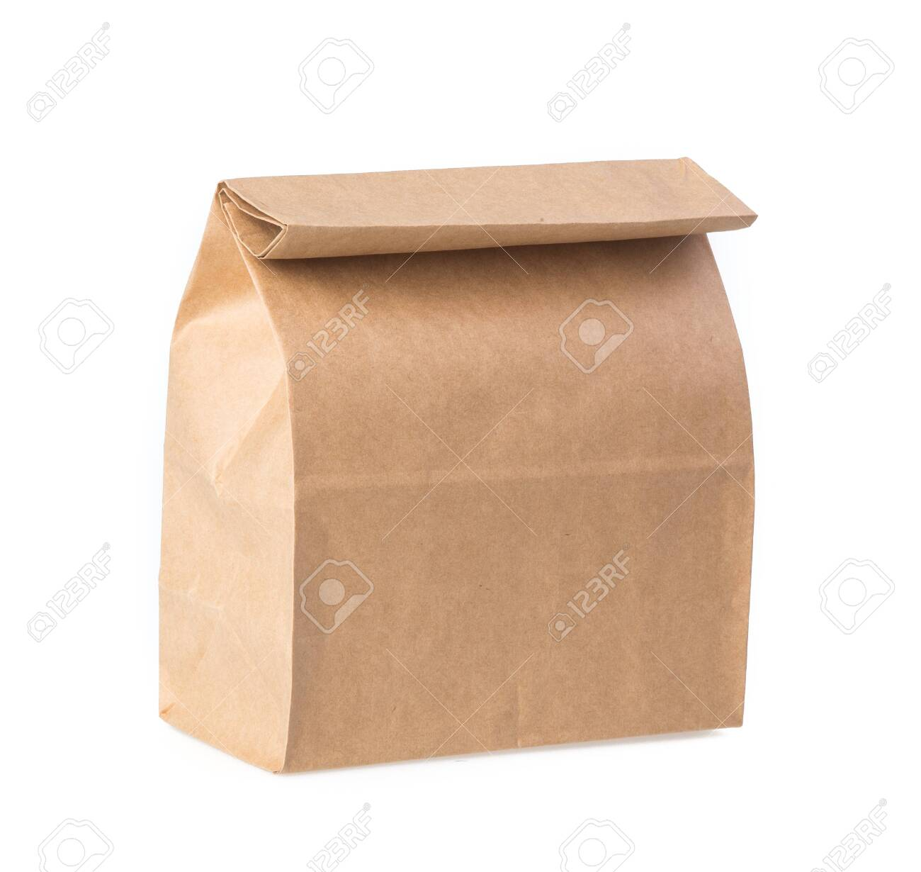Brown paper bag isolated on white - 129542177