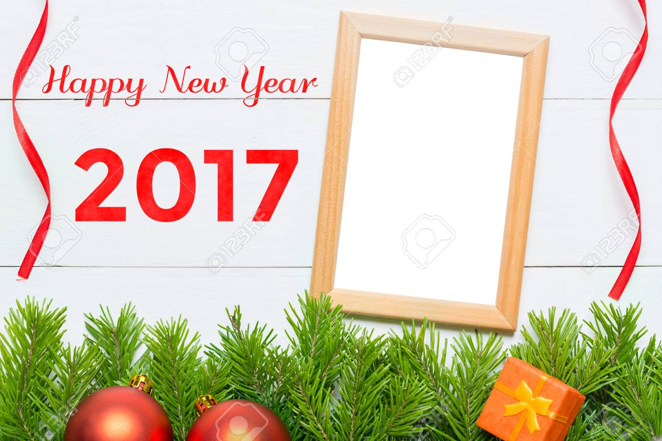 Beautiful Happy New Year 2017. Christmas Decoration And Blank Photo Frame Stock Photo    65544509