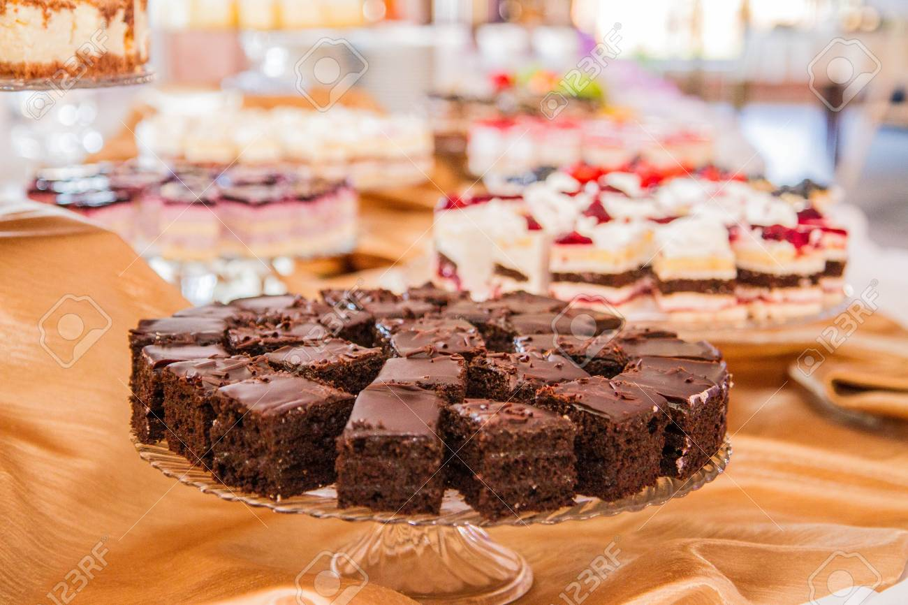 Selection Of Cakes And Pastry Set Up For A Party Stock Photo
