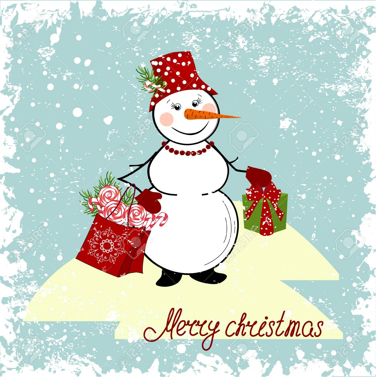 Christmas card with a snowman and gifts Stock Vector - 16560354