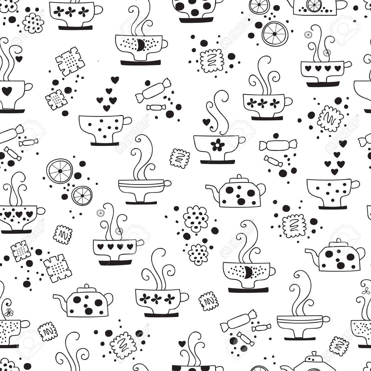 seamless pattern drinking of tea monochrome Stock Vector - 17015766