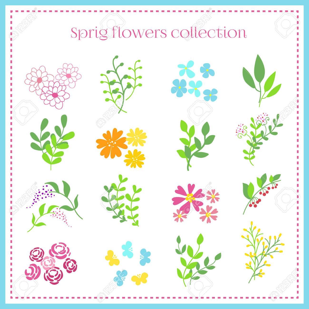spring flowers set spring ornament elements orange blue pink