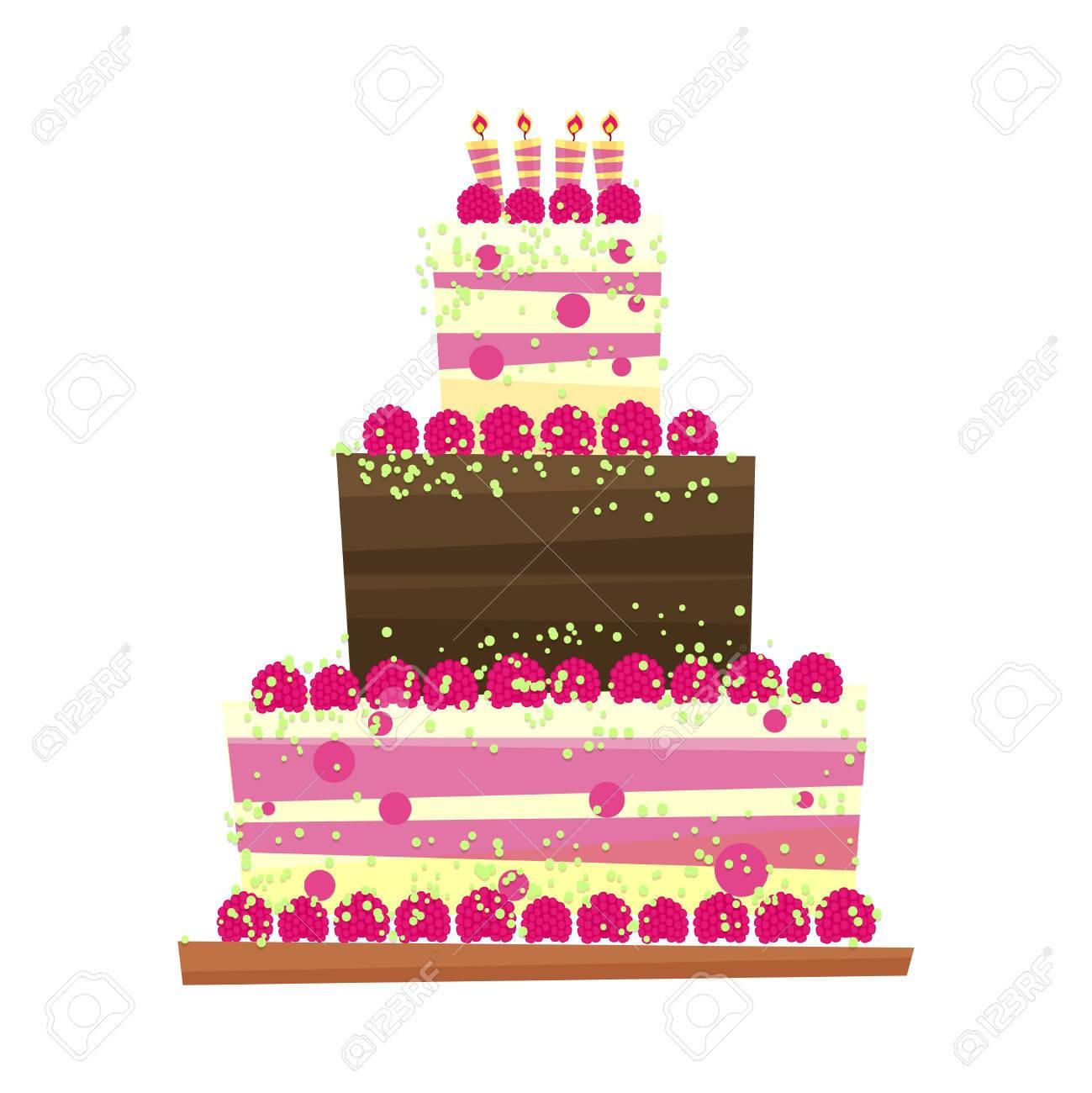 Geburtstag Oder Hochzeitstorte Cartoon Stil Suss Isoliert Auf Weissem