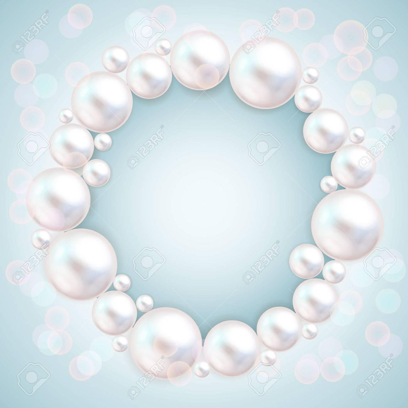 Perle Perlen Auf Blauem Hintergrund Rahmen. Schmuck Armband ...