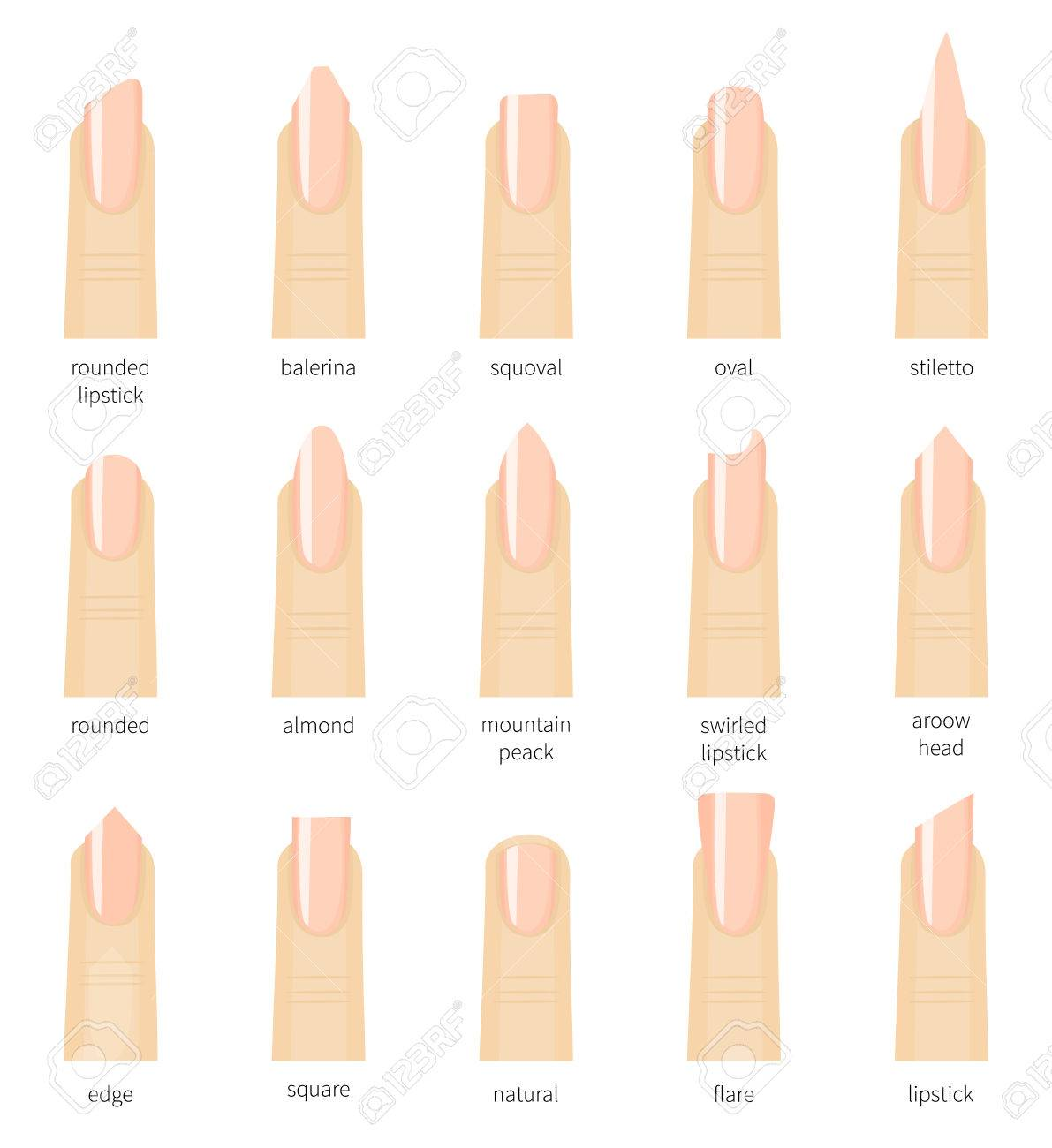 Different Fashion Nail Shapes. Set Kinds Salon Nails Type Trends ...