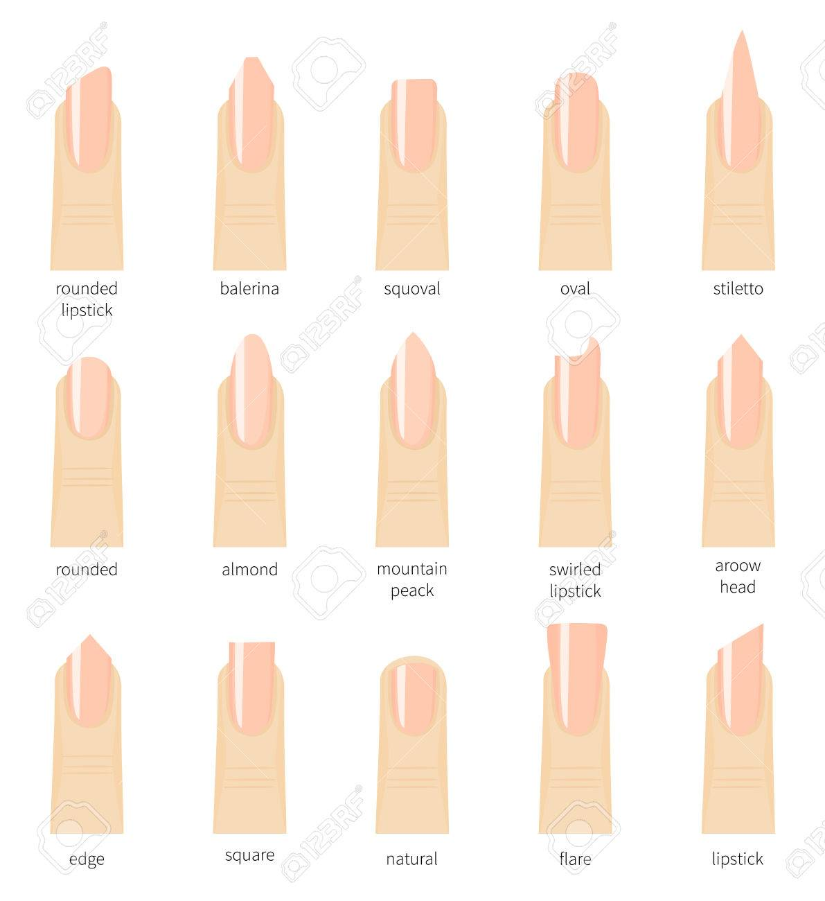 Different Fashion Nail Shapes. Set Kinds Of Natural Color Nails ...