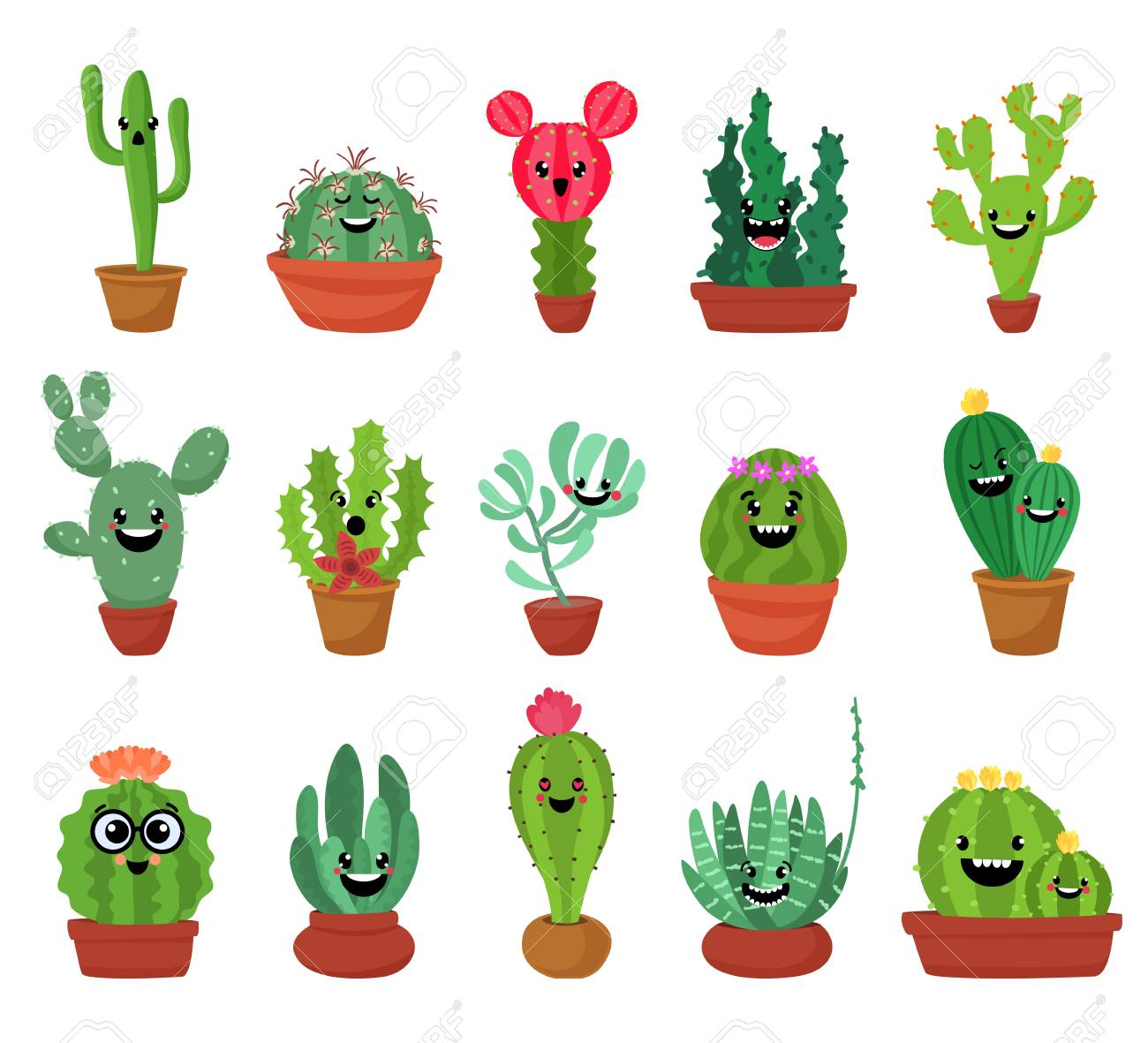 Big Set Of Cute Cartoon Cactus And Succulents With Funny Faces Royalty Free Cliparts Vectors And Stock Illustration Image 79938412