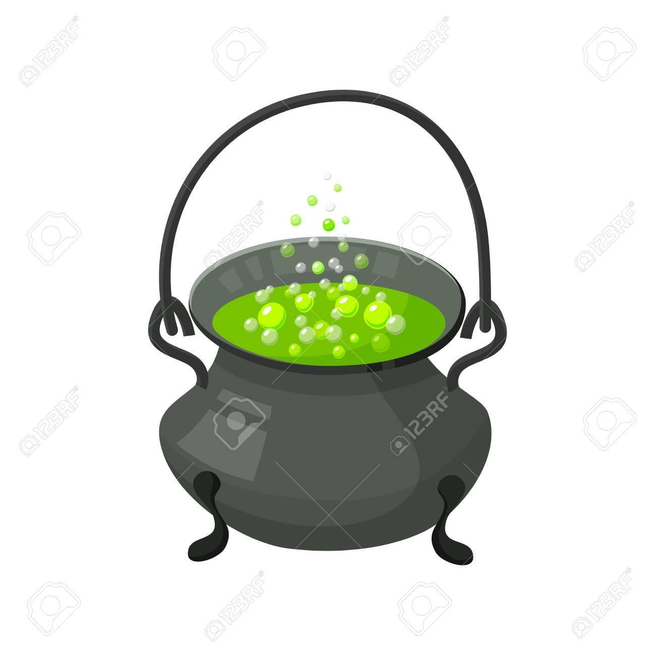 Chaudron Dhalloween Sorcière Avec Potion Icône Dhalloween Isolé
