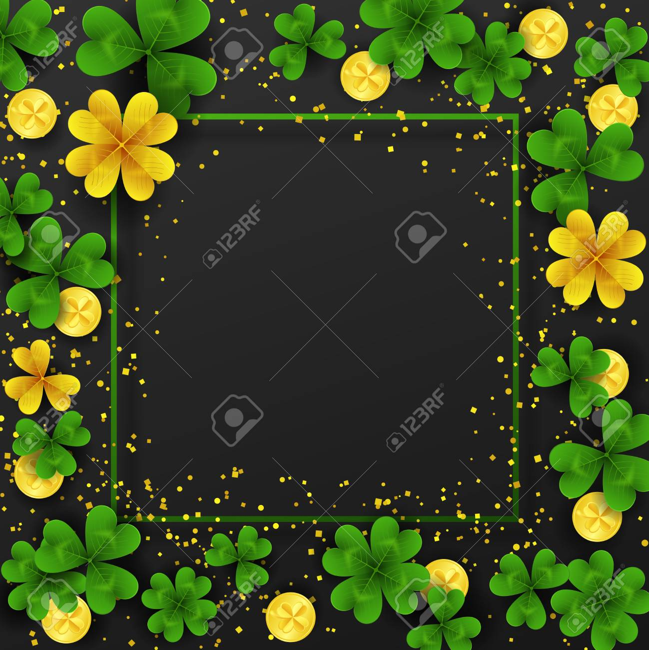 Saint Patricks Day Border With Golden Shimmer Green Gold Four