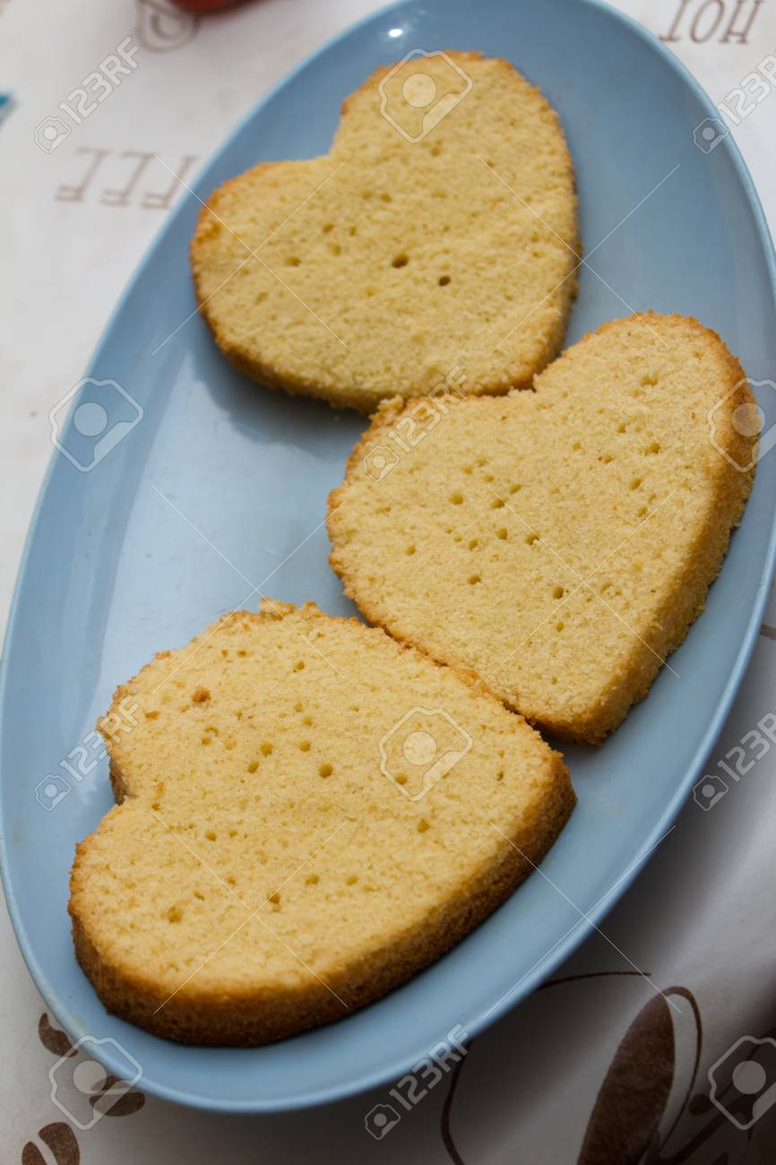 Heart Shaped Cake Slices Stock Photo