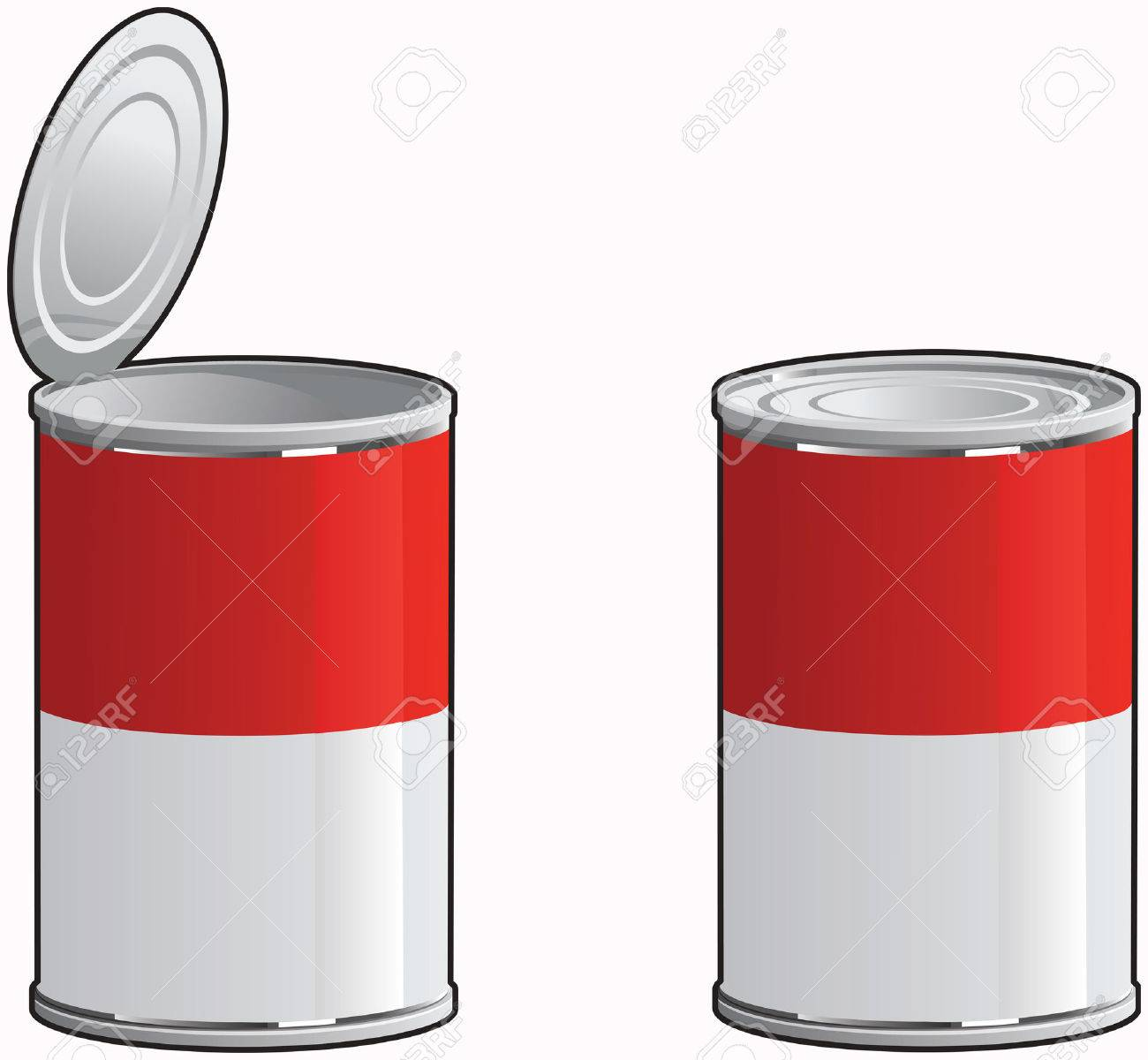 Generic soup cans with and without lid removed. Stock Vector - 3160450