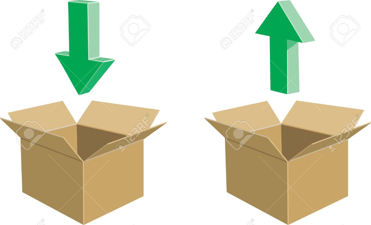 Cardboard Boxes With Directional Arrows Going In And Out Royalty