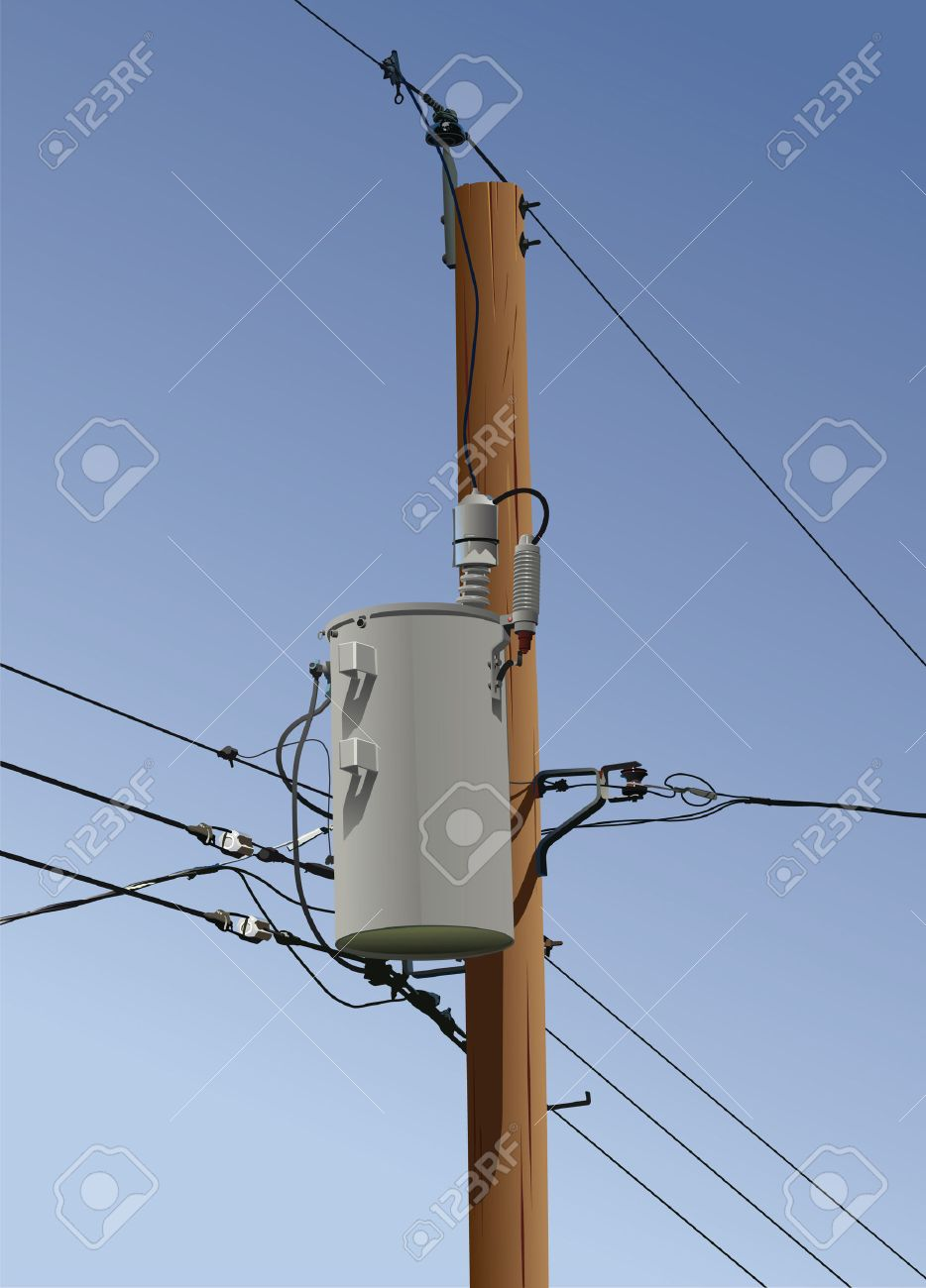 Electrical or utility pole with transformer wires and insulators. Stock Vector - 4451911 : pole transformer wiring - yogabreezes.com