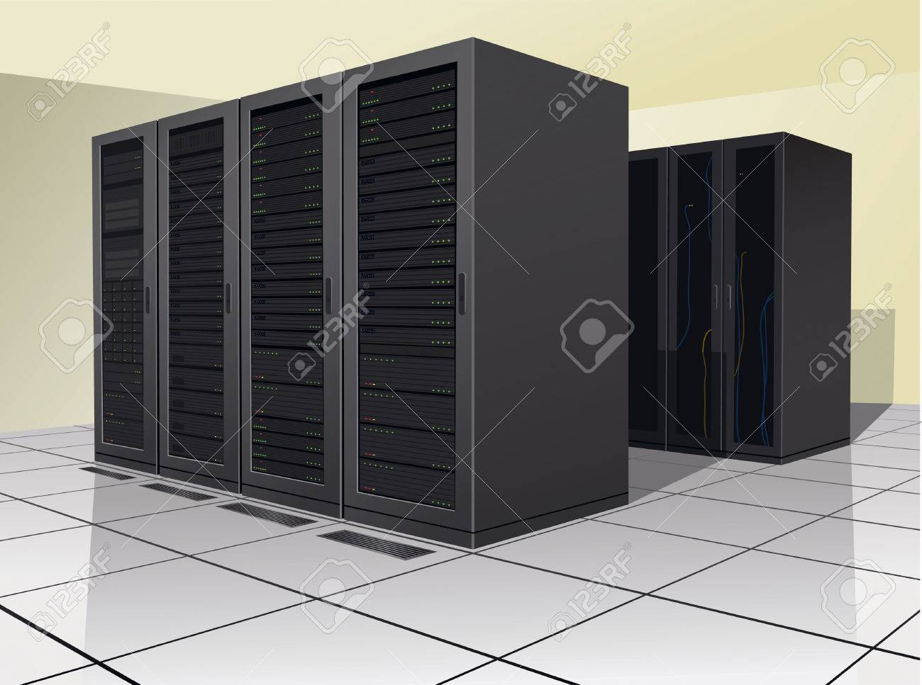 Two rows of rack, or enclosures, containing computer equipment. Stock Vector - 5496472