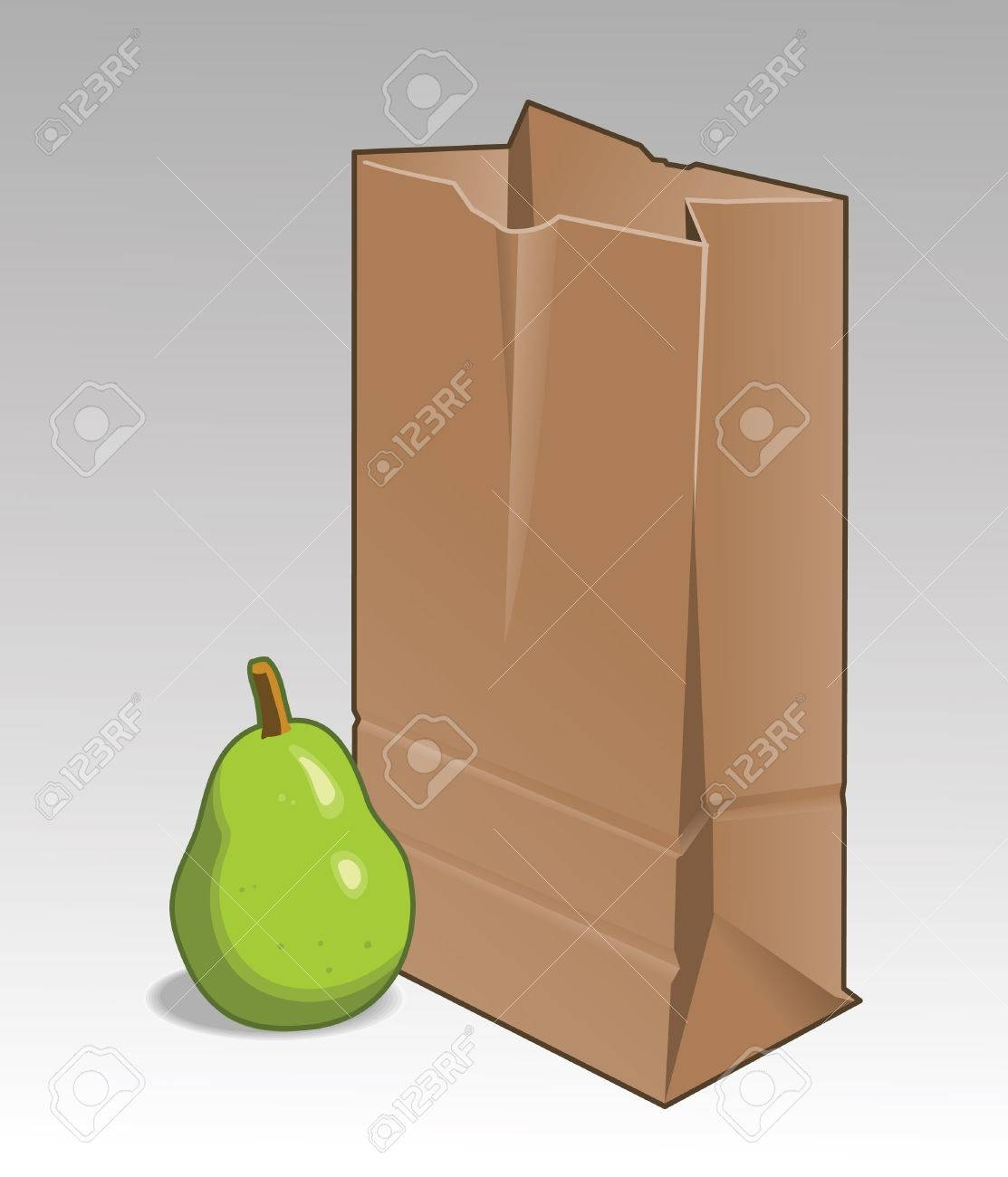 Green Pear with Brown paper bag. Assigned colors and separate layers in vector file. Stock Vector - 6601955