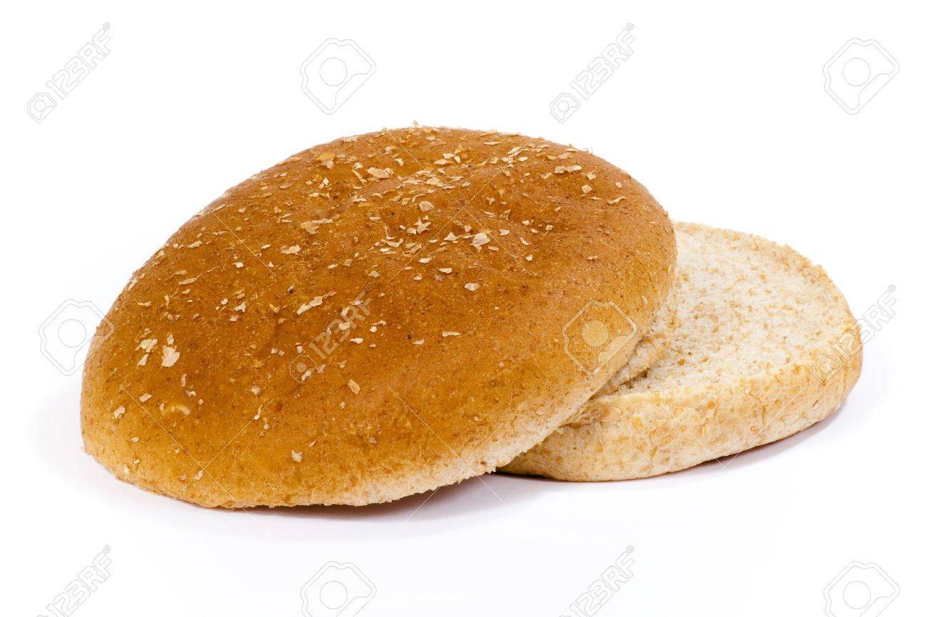 Isolated whole weat hamburger bun with top and bottom separated. Stock Photo - 6997632