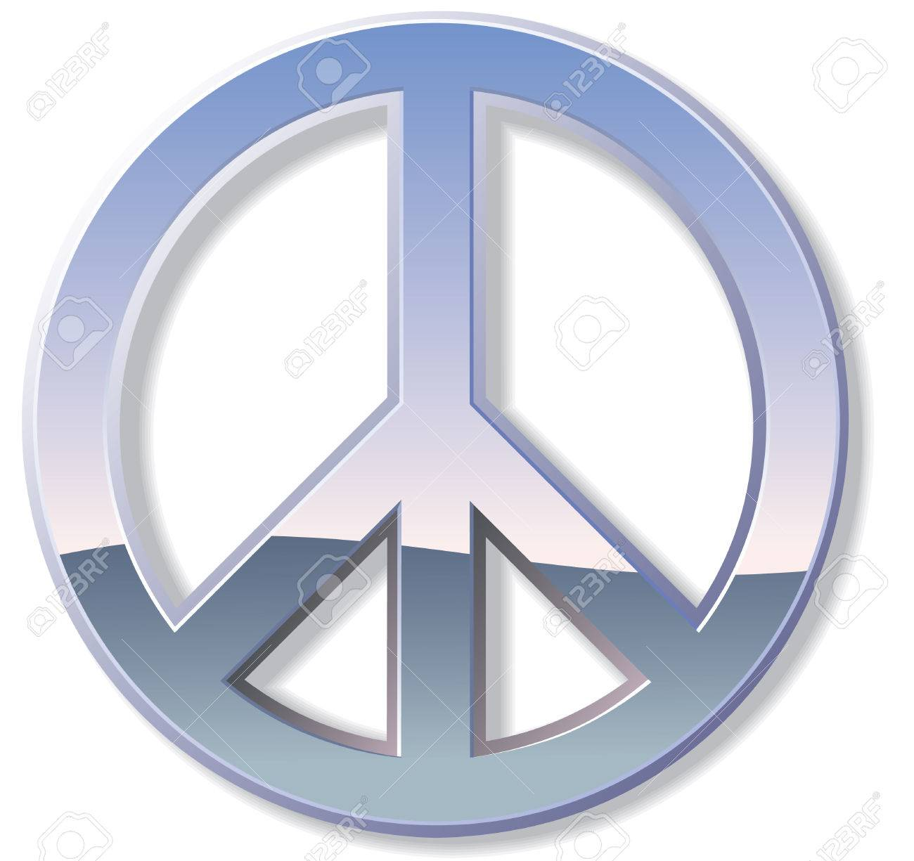 Metal or chrome peace sign with reflections Stock Vector - 7202115