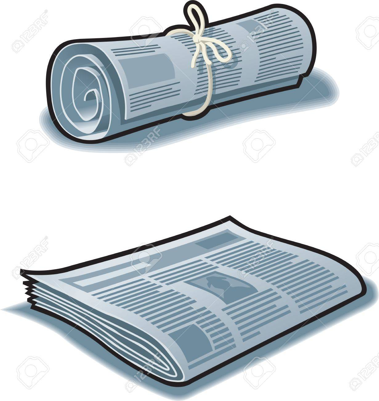 newspapers rolled up with string and flat. royalty free cliparts