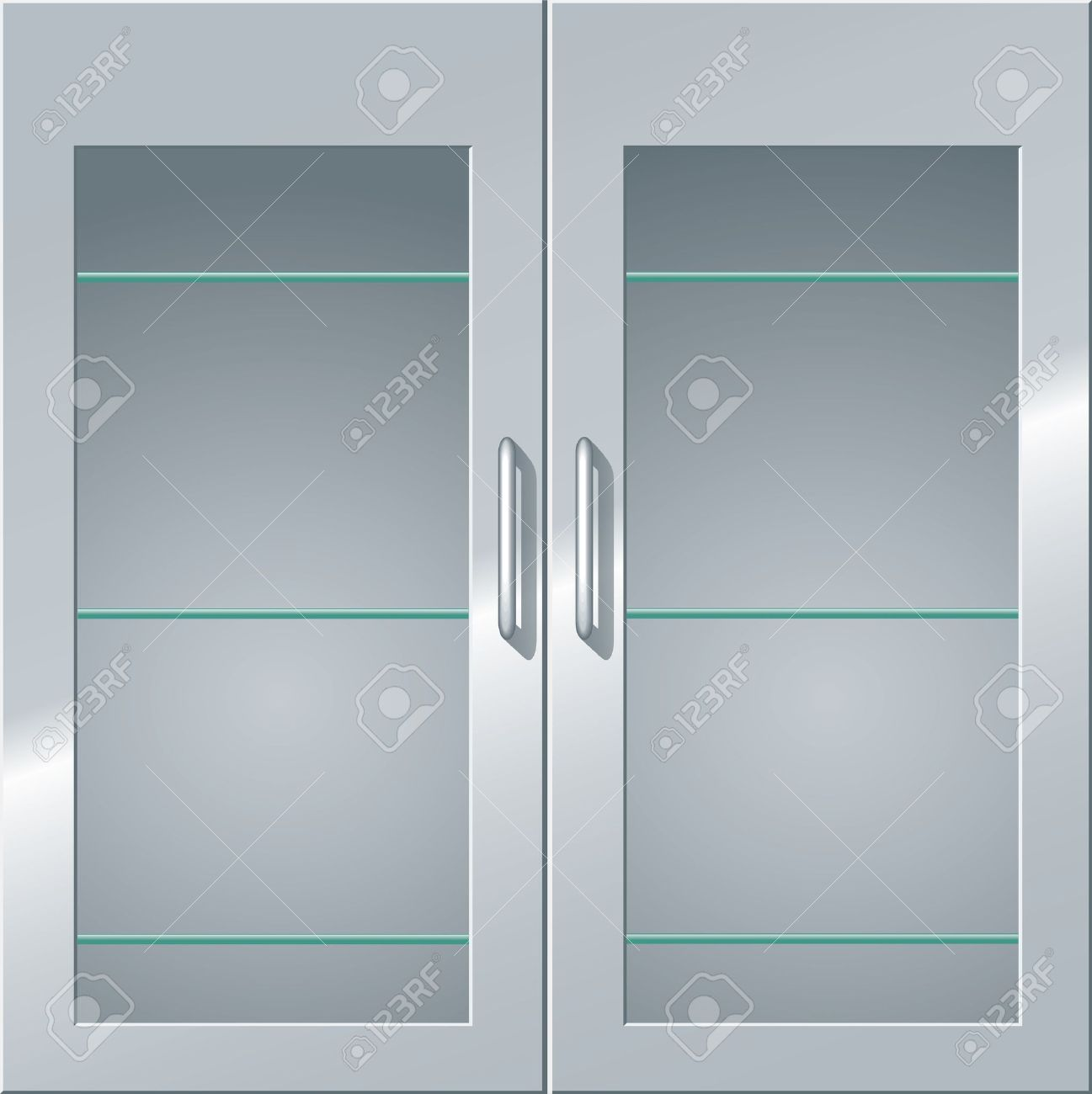 front view of a metal cabinet with glass doors and shelves stock vector
