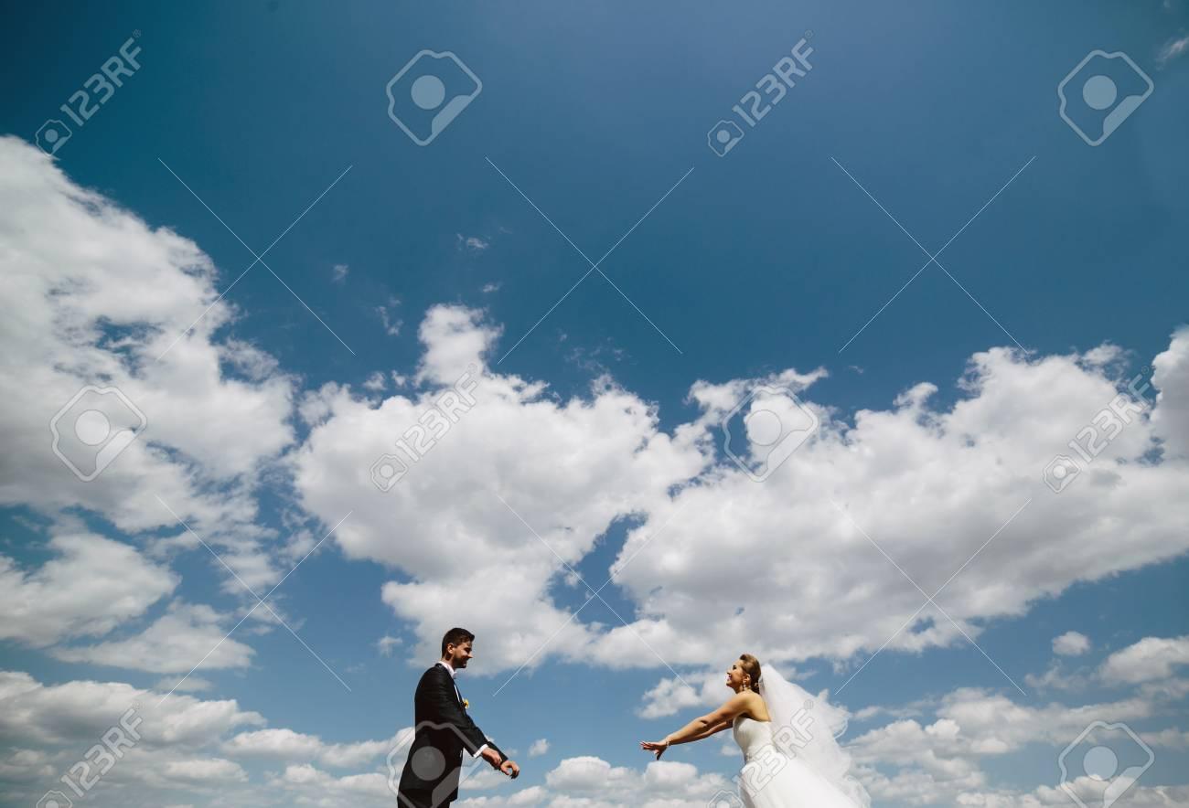 Beautiful wedding couple on the background of blue sky - 46334231